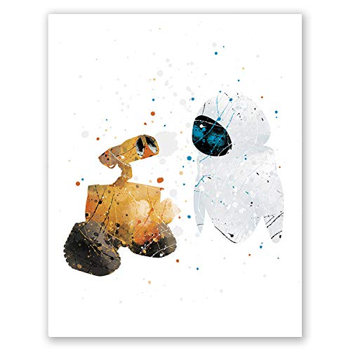 PGbureau Wall-E and Eve Poster – Kids Nursery Wall Art Movie Print - Watercolor Home Room Decor – Party Supplies Decoration – Birthday - E Wall Poster