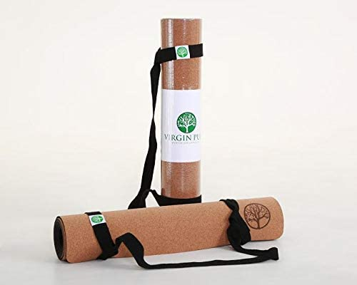 VIRGIN PULP Lux Yoga Mat 76 in x 26 in x 5mm Thickest, Longest, Widest Organic Cork and Natural Rubber Premium Quality for Men, Women, and Kids Non-Slip and Durable Free Strap Included
