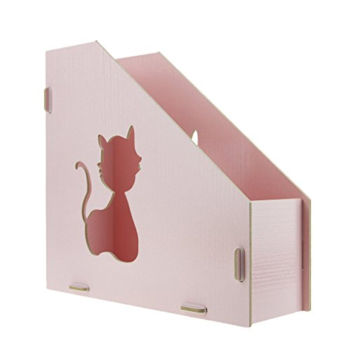 Clobeau DIY Wooden Hollow Cats Creative Desktop File Storage Box Document  Books Magazine Holder Sorter Office ...