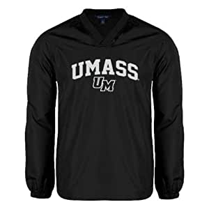 UMass Amherst V Neck Black Raglan Windshirt 'Arched UMass' - Small