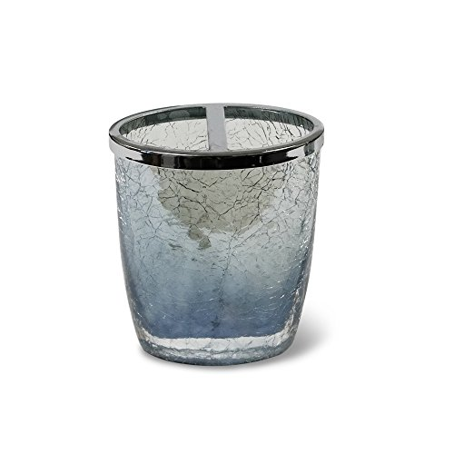 Veratex Cracked Up Collection Modern Contemporary Style Patterned Glass Bathroom Toothbrush Holder, Smoke