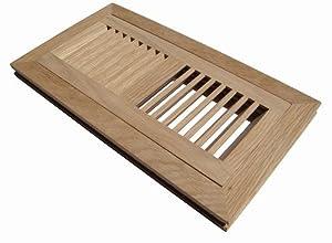 4 inch x 10 inch white oak hardwood vent floor register for 6x12 wood floor register