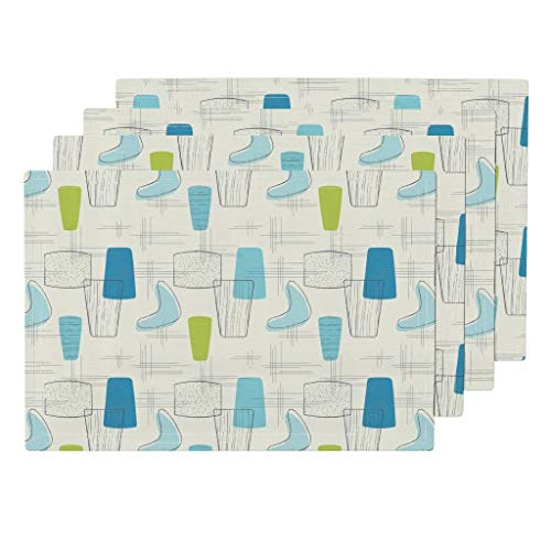 Mid Century 4pc Organic Cotton Sateen Cloth Placemat Set - Vintage Look Mid-Century Modern Blue Chartreuse Retro 1950S Kids Cool Kitchen Cream Background by Repeatafterme (Set of 4) 13 x 19in