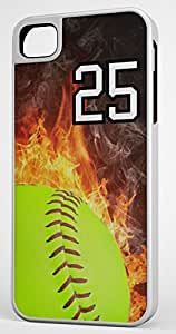 Flaming Softball Sports Fan Player Number 25 White Rubber Hybrid Tough Case Decorative iPhone 4/4s Case