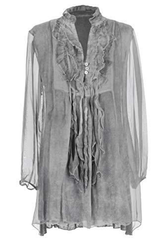 Button Long 3 Top Silk Frill Tunic Italian Size Grey One V Sleeve Women Ladies Light Texture Neck Tassel Lagenlook Blouse fIwY0S0x