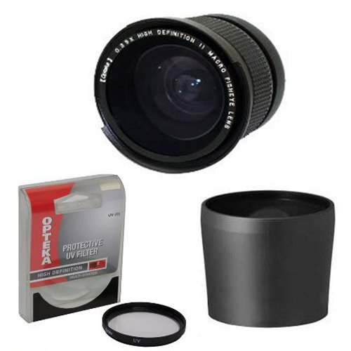 Opteka .35x High Definition II Super Wide Angle Panoramic Macro Fisheye Lens for Sony DSC-H10 DSC-H5 DSC-H3 DSC-H1 DSC-H2 DSC-H5 Includes Tube Adapter With Bonus 67MM High Definition II UV (0) Ultra Violet Haze Multi-Coated Glass Filter Photo Print ! from Opteka