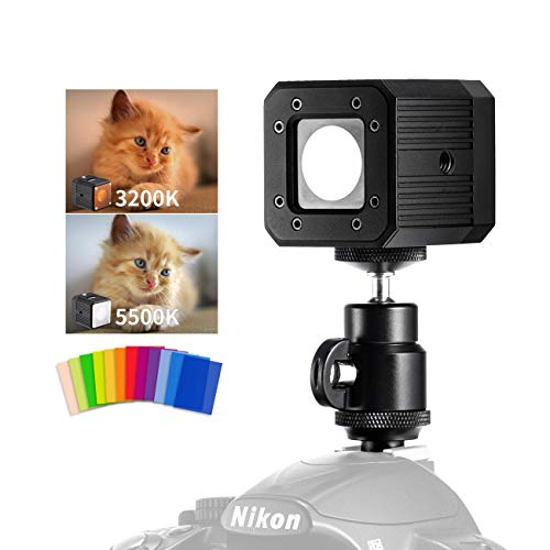 TARION TR-LX02 Camera Led Video Light RGB 3200K/5500K Waterproof On-Camera Light with Color Cards for SLR DSLR Action Cameras Camcorder Phone -