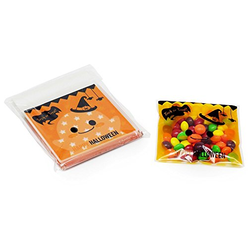 Pack of 100 Halloween Trick or Treat Plastic Candy Bags, Pumpkin Mini Goody Bags for Party Favors, Snacks, Cookie, Chocolate, Decoration, Children Arts & Crafts, Event Supplies -