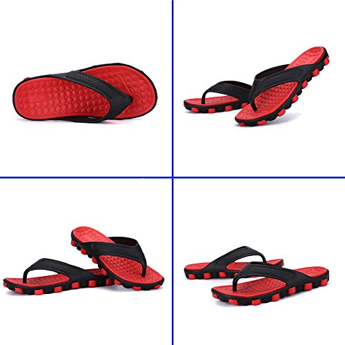 MeiPing Men's Rubber Sandal Slipper Comfortable Shower Beach Slip on Flip Flop Shoe Red XVjVMr3YxQ