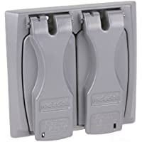 Red Dot 2CCU Outlet Box Flip-Lid Cover, Weatherproof, 2 Gang, Silver by Thomas & Betts