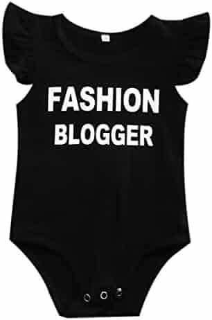 84cbaa7921c1 Newborn Baby Girls Fly Ruffle Sleeve Fashion Blogger Print Bodysuit Romper