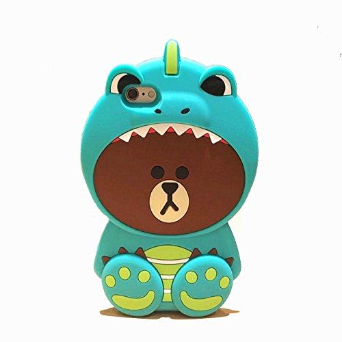 [CaserBay] iPhone 7 Plus 5.5 3D Cute Dinosaur Hat Brown Bear Cartoon Kawaii Soft Silicone Ultra Thick Rubber Case Cover (Dinosaur Bear For iPhone 7 Plus 5.5)