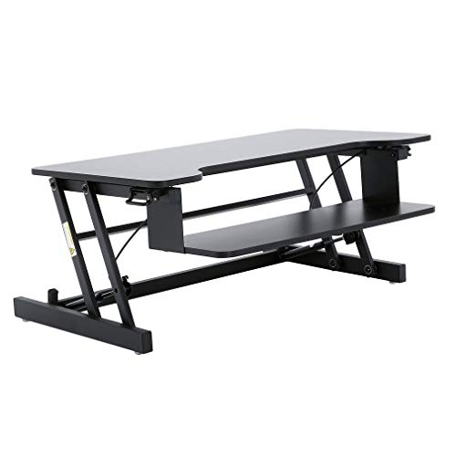 Compact Standing Desk Converter, 28in x 20in, Height Adjustable Desk Riser for Monitor/Laptop, No Assembly Required (Black) ()