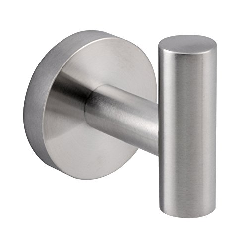Modern 304 Stainless Steel Single Prong Round Robe Hook, Wall Robe Hook Brushed (Modern Brushed Nickel Bath)