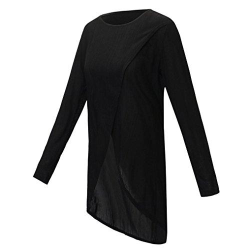 Forcella Maniche Casual Irregolare Neck Shirt Felpa Donna Elegante T Nero ABCone Lunghe Camicette Tops Autunno Camicie Pullover O wZt1Yzq