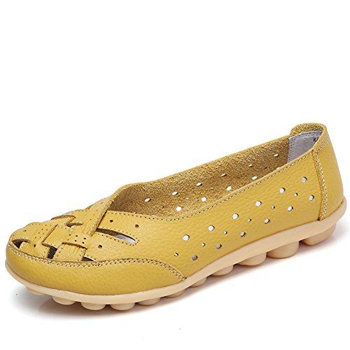 Z-joyee Womens Aushöhlen Casual Leder Fahren Flache Müßiggänger Schuhe Gelb