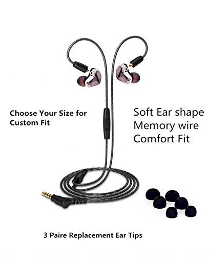 RNGING S9 Removable Headphones Over Ear In Ear Noise Isolating Sweatproof Sport Headphones Earbuds Earphones with Remote and Mic Stereo Workout Earpods for Running Jogging Gym for iPhone iPod Samsung