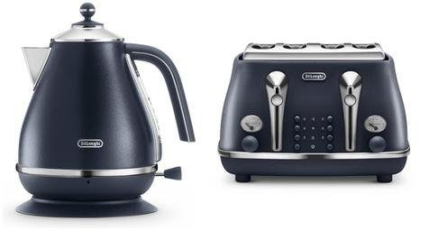 Delonghi Icona Elements Blue Kettle & Four Slice Toaster Set DELONGHI-KENWOOD