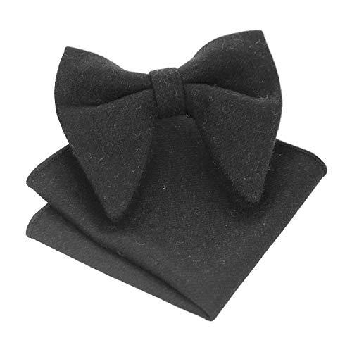 JEMYGINS Oversize Black Cashmere Wool Bow Tie and Pocket Square Sets for Men (1)