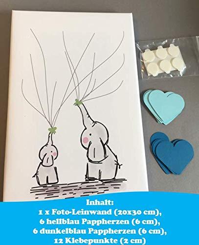 Idee Elefant Leinwand Herzen ideales Geschenk Baby Shower in Blau f/ür Jungen G/ästebuch Erinnerung Taufe Andenken zur Geburt Babyparty Deko