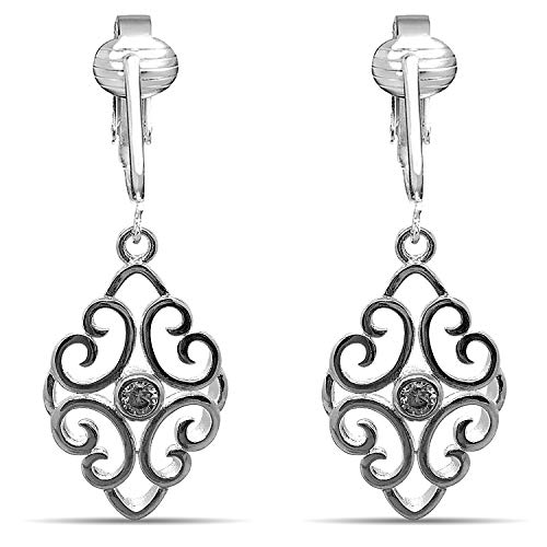Aloha Earrings Womens Clip Earrings Silver, Silver Earrings Clip On for Women, Lightweight Silver Clip Earrings (Silver Filigree CZ)