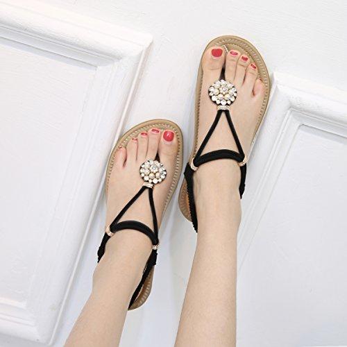CARETOO Sandales Femmes Plates D'éTé Chaussures éLastiques Plage BohèMe Strass Sandales Orteils SéParateurs Noir oBEQIZKrQH
