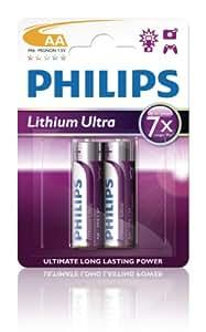 Philips FR6LB2A - Pack de 2 pilas de litio AA de larga duración