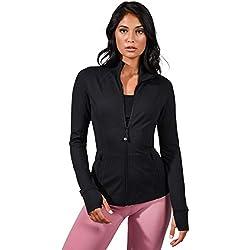 90 Degree By Reflex Women's Lightweight, Full Zip Running Track Jacket - Black - Medium