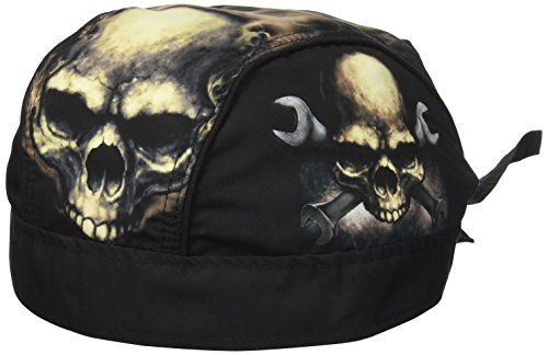 (Hot Leathers Skull and Wrench Bones Head Wrap (Black))