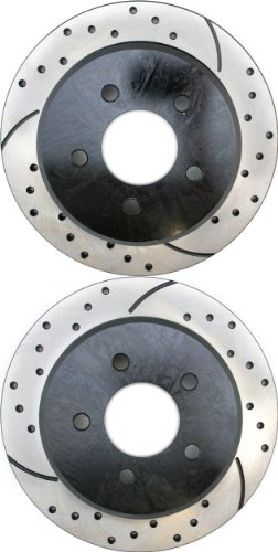 Prime Choice Auto Parts PR64034LR Performance Drilled and Slotted Brake Rotor Pair for Rear