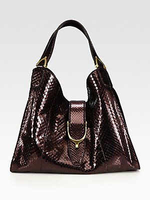 a080916200fe Image Unavailable. Image not available for. Color: Gucci Stirrup Medium  Python Top-Handle Bag
