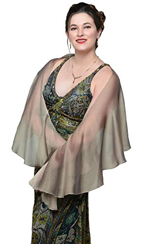 LENA MORO - FLUTTERING SCARVES - Bronze-Black Two Tone Poly Chiffon - Sheer Wedding Evening Shawls ()