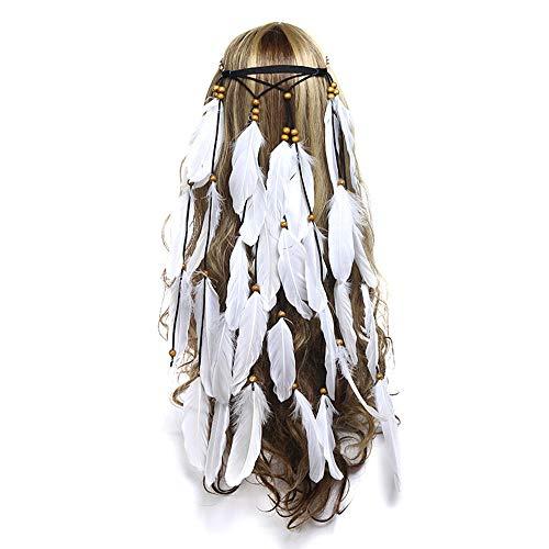 Hippie Feather Headband Boho Headdress, White Feather Crown Elastic Gypsy Festival Headband Indian Hair - Hippie Feather