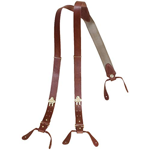 Leather Suspenders Braces Adjustable Design Brown Brass Button on No. 1 USA - Binder Leather Americana