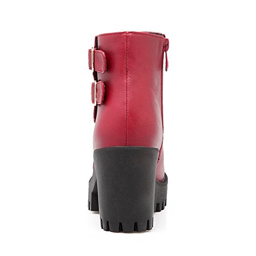 Allhqfashion Women's high High Toe Red PU Heels Round Zipper Ankle Closed Boots rrwdnT