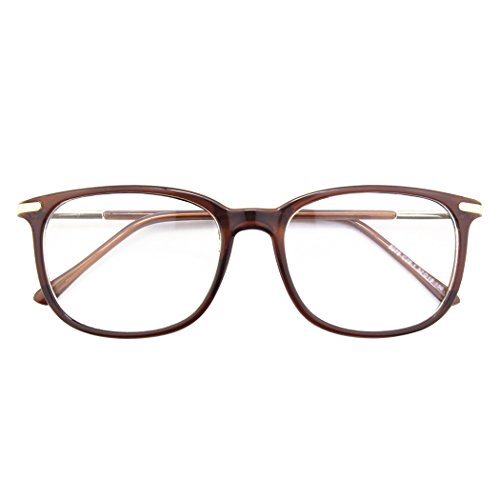 - Happy Store CN79 High Fashion Metal Temple Horn Rimmed Clear Lens Eye Glasses,Brown
