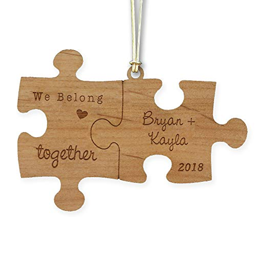 GiftsForYouNow Engraved Couple's Puzzle Wood Cut Ornament -