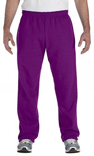 Gildan Heavy Blend 8 oz, 50/50 Open-Bottom Sweatpants, Large, Purple ()