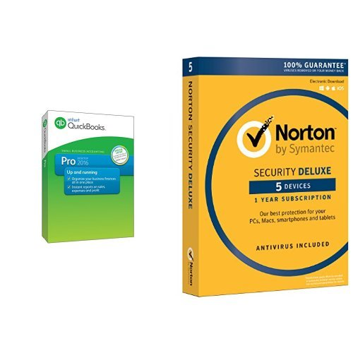 QuickBooks Pro 2016 Small Business Accounting Software with Free QuickBooks Online Essentials and Norton Security Deluxe - 5 Devices