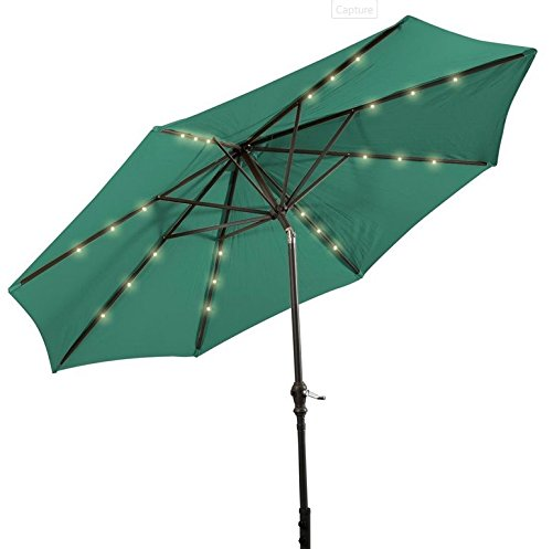 Patio Furniture-Patio Umbrella-This Is Premium 10'Patio Solar Umbrella LED Patio Market Steel Tilt With Crank -Color GREEN-Umbrellas especially designed to keep you cool and more comfortable than a traditional umbrella-Guaranteed!