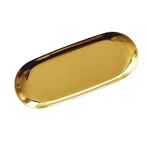 (Chrasy Stainless Steel Vanity Trays Towel Tray Storage Cosmetic Organizer Trays for Makeup Oval Jewelry Organizer,)