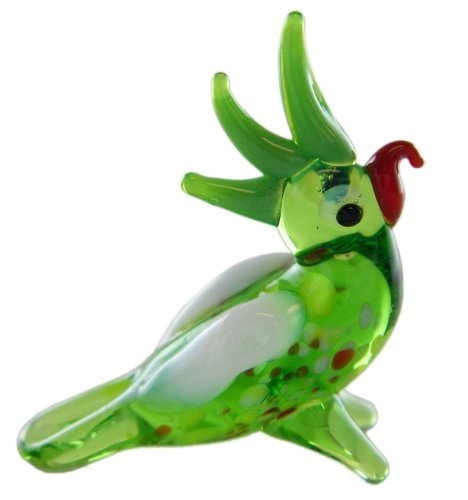 Collectibles Miniture Glass Figurines-Glass Zoo Figurine Animals - 1 Inch Green Parrot ()