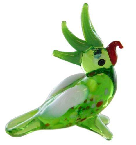 Miniture Glass Figurines-Glass Zoo Figurine Animals - 1 Inch Green Parrot
