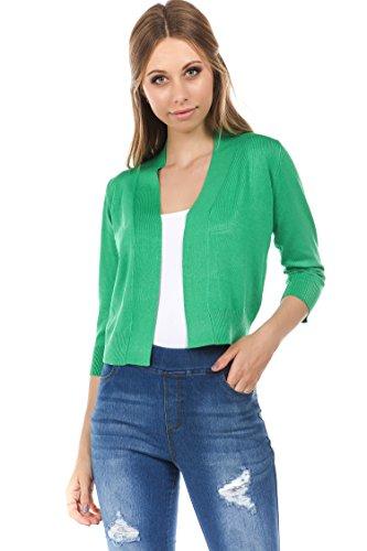 Green Girls Light - CIELO Women's Soft Solid Colored Open Front 3/4 Sleeve Cardigan Green Medium