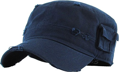 KBETHOS Cadet Army Cap Basic Everyday Military Style Hat (Small, (Distressed Pockets) Navy) -