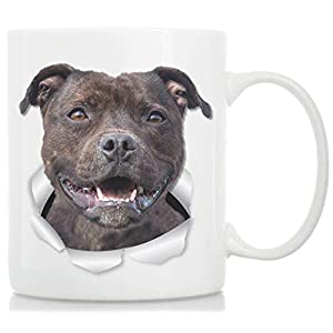 Happy American Staffordshire Terrier Mug – Staffie Ceramic Coffee Mug - Perfect Staffordshire Bull Terrier Gifts - Funny Cute Staffordshire Terrier Dog Coffee Mug for Dog Lovers and Owners (11oz) 38