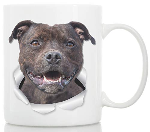 Happy American Staffordshire Terrier Mug – Staffie Ceramic Coffee Mug - Perfect Staffordshire Bull Terrier Gifts - Funny Cute Staffordshire Terrier Dog Coffee Mug for Dog Lovers and Owners (11oz) 1