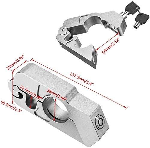 blocco leva freno e manopola Antifurto Moto per manubrio argento