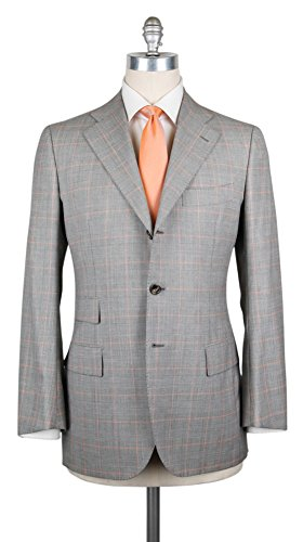 (Cesare Attolini New $6300 Gray Wool Blend Window Pane Suit - 40/50 - (CA810177))