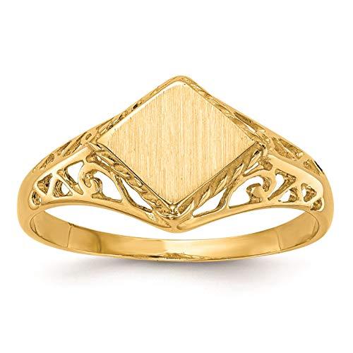 14K Yellow Gold 6.2 MM Diamond Shape Engravable Signet Ring, Size 5.25 Diamond Shape Signet Ring
